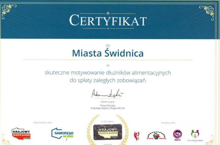 Certyfikat dla Gminy Miasta Świdnica