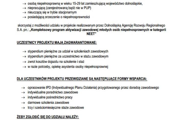Kompleksowy program aktywizacji zawodowej młodych osób niepełnosprawnych z kategorii NEET w woj. Dolnośląskim