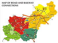 map of road and railway connections