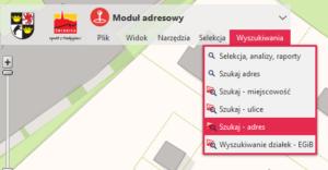 Menu wyszukiwania adresów